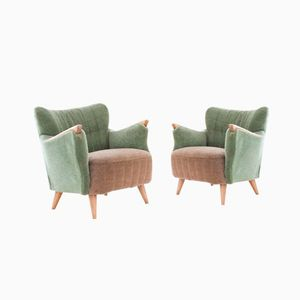 Pastelle Green and Beige Danish Armchairs, 1950s, Set of 2