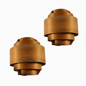 Wooden Wall Lights by Hans Agne Jakobsson for Ellysett Markaryd, 1960s, Set of 2