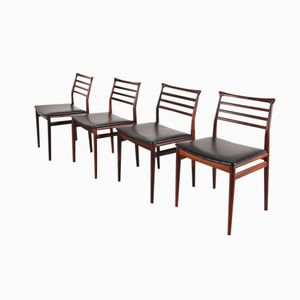 Rosewood and Vinyl Dining Chairs, 1950s, Set of 4