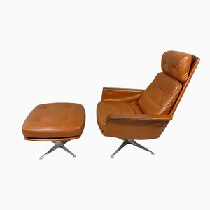 Sedia Leather Lounge Chair and Footstool by Horst Brüning for COR, 1960s
