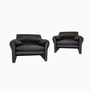Vintage Maralunga Sessel aus Schwarzem Leder von Vico Magistretti für Cassina, 2er Set