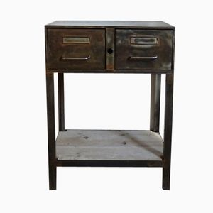 Industrial French Side Table with Drawers