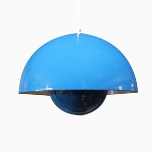 VP1 Blue Flowerpot Pendant by Verner Panton, 1973
