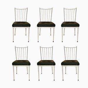 Weiße Esszimmerstühle, 1950er, 6er Set