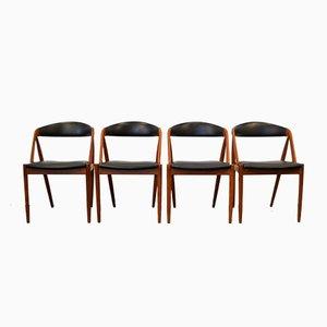 Model 31 Teak Dining Chairs by Kai Kristiansen for Schou Andersen, Set of 4