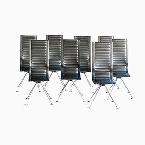 Stühle aus Schwarzem Leder von Tito Agnoli für Ycami, 1960er, 8er Set