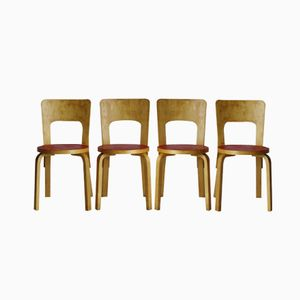 Model 66 Dining Chairs by Alvar Aalto, 1940s, Set of 4