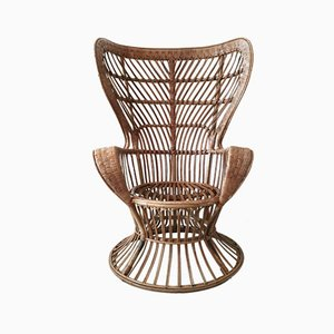 High Back Rattan Chair, 1940s