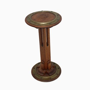 Art Deco Oak & Brass Side Table