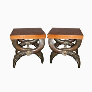 French Bronze and Pear Tree Stools, 1970s, Set of 2