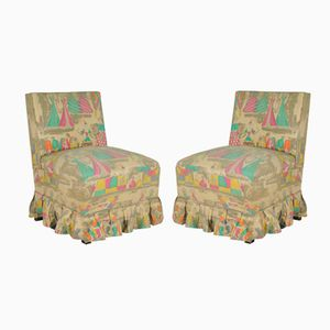 Vintage Bedroom Sidechairs with Gio Ponti fabric for JSA, Set of 2