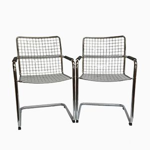 Chromed Dining Chairs from Molteni, Set of 2