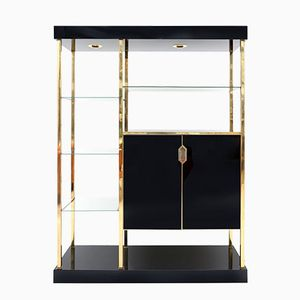 Vintage Black Formica and Brass Etagere