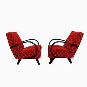 Rote Sessel von Jindrich Halabala für Thonet, 1940er, 2er Set