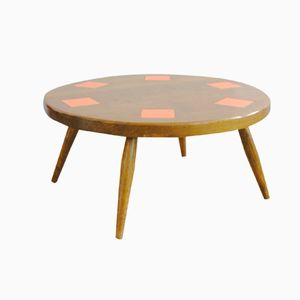 French Oak Coffee Table with Geometric Tiles, 1950s