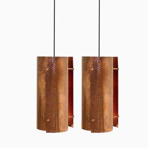 Scandinavian Minimalist Copper Pendants, 1960s, Set of 2