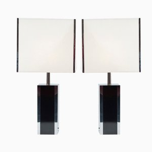 French Formica and Chrome Table Lamps, Set of 2