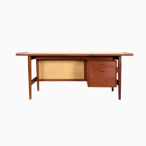 Danish Teak & Rattan Desk by Arne Vodder for Sibast