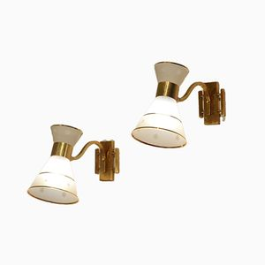 Mid-Century Diabolo Shaded Glass & Brass Sconces, 1950s, Set of 2