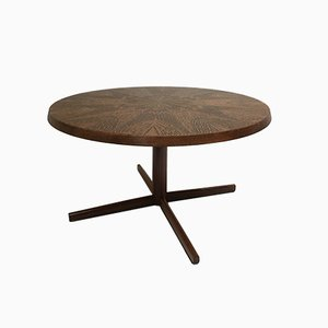 Brutalist Rosewood Coffee Table with Bronzed Etched Flower Motif, 1960s