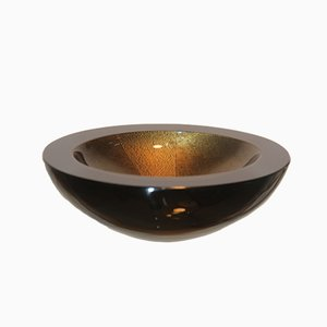 Black and Gold Glass Bowl from Seguso, 1988
