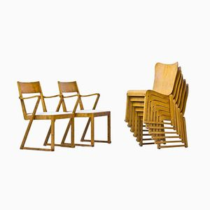 Stacking Bentwood Chairs by Axel Larsson for Svängsta Stilmöbler, 1950s, Set of 8