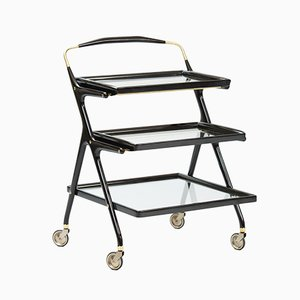 Ebonized Wood Rolling Cart by Cesare Lacca