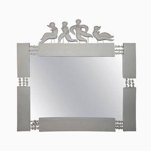 Großer Spiegel mit Keramikrahmen und Tanzenden Figuren von Georges Pelletier, 1960er