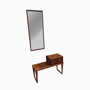 Rosewood Bench with Letterbox & Mirror by Aksel Kjersgaard, 1960s