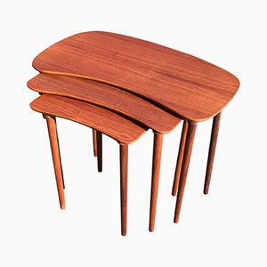 Organic Danish Teak Nesting Tables, Set of 3