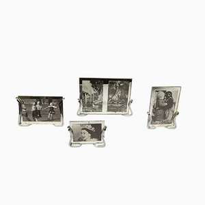 French Chromed Art Deco Picture Frames, Set of 4