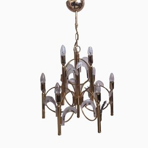 9-Light Glass and Brass Chandelier by Gaetano Sciolari, 1970s