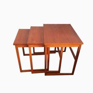 Mid-Century Danish Teak Nesting Tables from BRDR Furbo, Set of 3