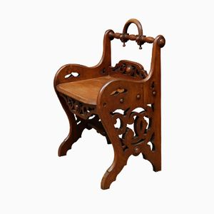 Victorian Oak Hall Chair, 1840s