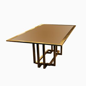 Large Brass & Glass Coffee Table from Romeo Rega, 1970s