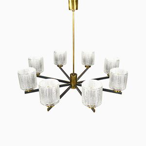 French Brass and Glass Ceiling Light
