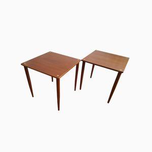 Mid-Century Italian Teak Stacking Tables, Set of 2