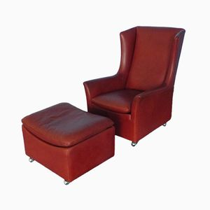 Vintage Leather Winged Armchair & Ottoman from Kill International