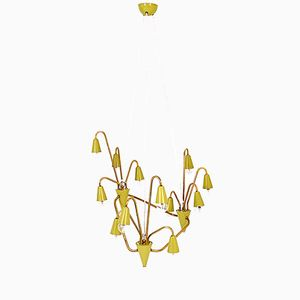 Austrian 15-Arm Brass and Metal Chandelier, 1950s