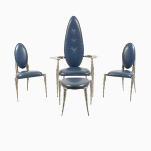 Dutch Brushed Steel & Blue Leather Living Room Set from Daal, 1970s