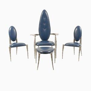 Set da salotto in acciaio e pelle blu di Daal, Olanda, anni '70