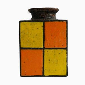 Deutsche Vintage Vase aus Glasierter Keramik in Orange & Gelb