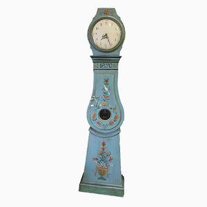 Antike Gustavianische Mora Uhr in Hellblau, 1800er