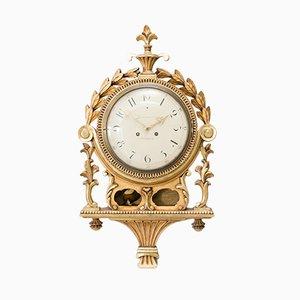 Horloge Murale Antique Gustavienne Sculptée à la Main