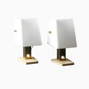 drehbare wandlampe aus teak messing mit lampenschirm aus. Black Bedroom Furniture Sets. Home Design Ideas
