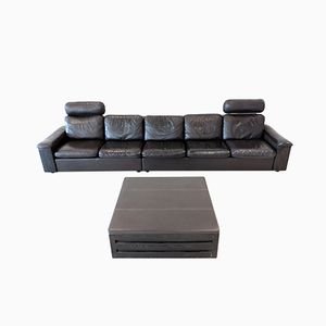 5-Seater Leather Sofa with Built-In Bookcase and Ottoman, 1960s
