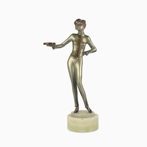 "Viennese Art Deco Bronze ""Bellhop"" Figure by Lorenzl, 1930"