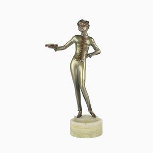Wiener Art Deco Bellhop Figur aus Bronze von Lorenzl, 1930