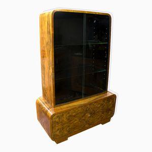 German Walnut Veneer Display Cabinet, 1930s