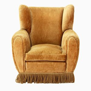 Beige Velvet Wingback Club Chair from Poltrona Frau, 1950s